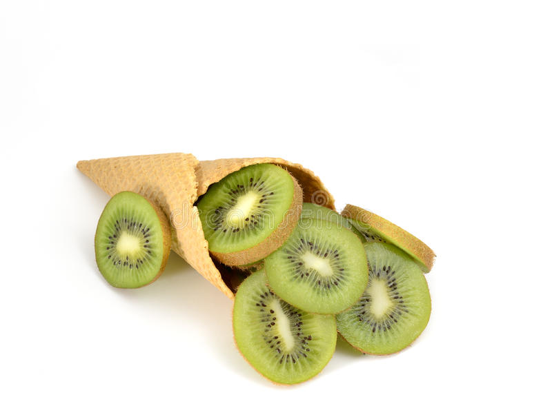 Kornet met verse kiwi royalty-vrije stock foto