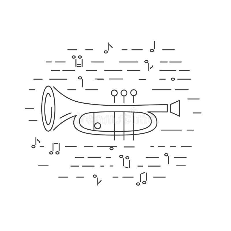 Kornett- eller hornsymbol som isoleras på bakgrund royaltyfri illustrationer