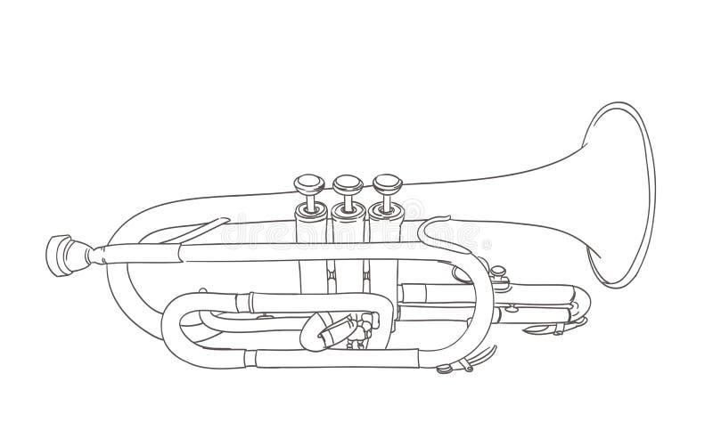 Kornettvindmusikinstrument vektor illustrationer