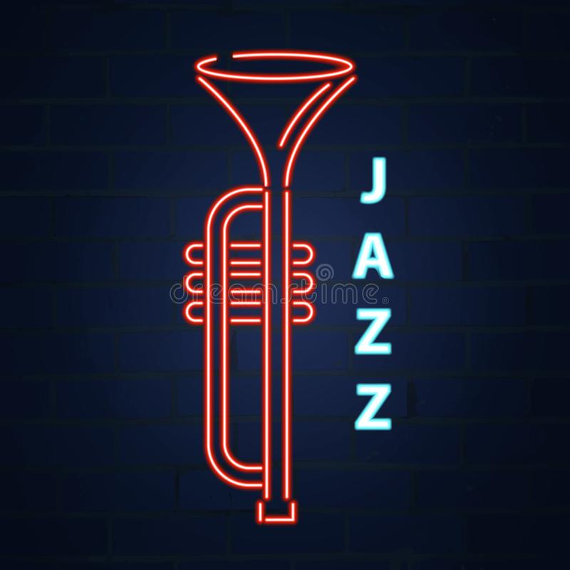 Kornetu jazzowy instrument neonowy Jazzowa muzyka Wektorowa neonowa ilustracja ilustracji