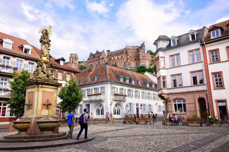 Kornmarkt in Heidelberg stock afbeeldingen