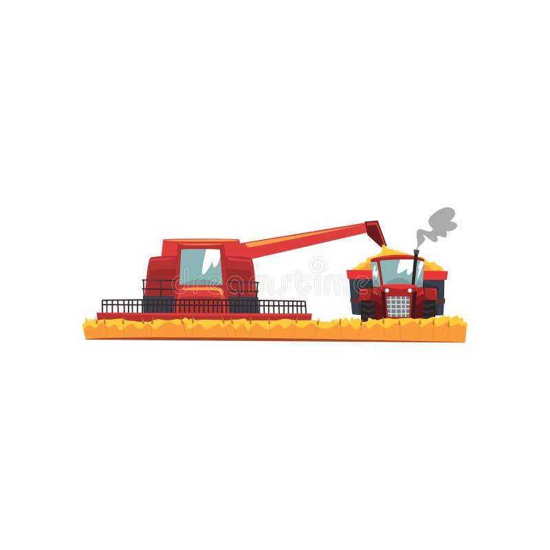 Kornskördetröska och traktor som arbetar i fältet, vektorillustration för jordbruks- maskineri på en vit bakgrund stock illustrationer