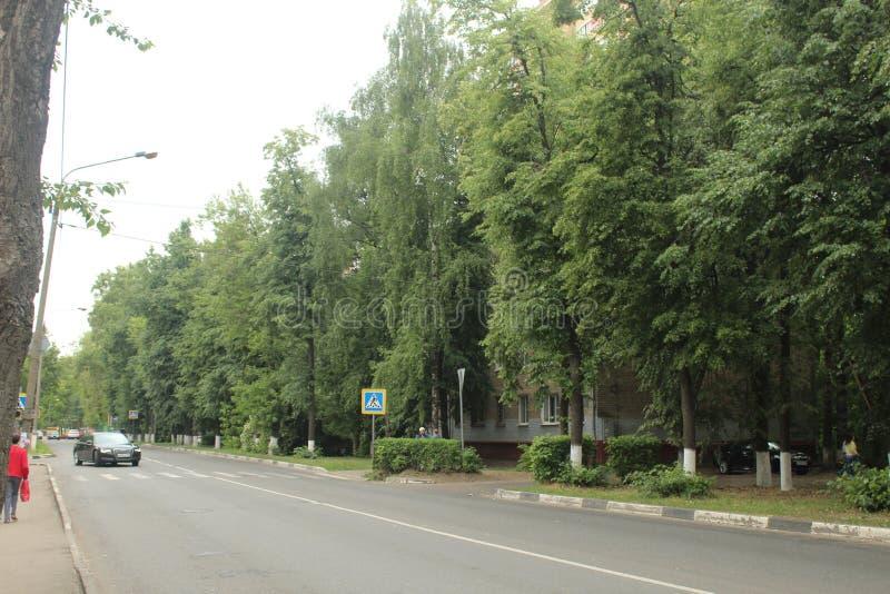 Korolyov går Kostino område Dzerjinsky gata Bolshevo kommun royaltyfri fotografi