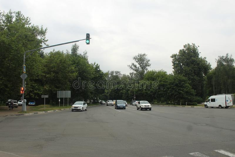 Korolyov går Kostino område Dzerzhinsky gata Makarenko gata royaltyfri fotografi