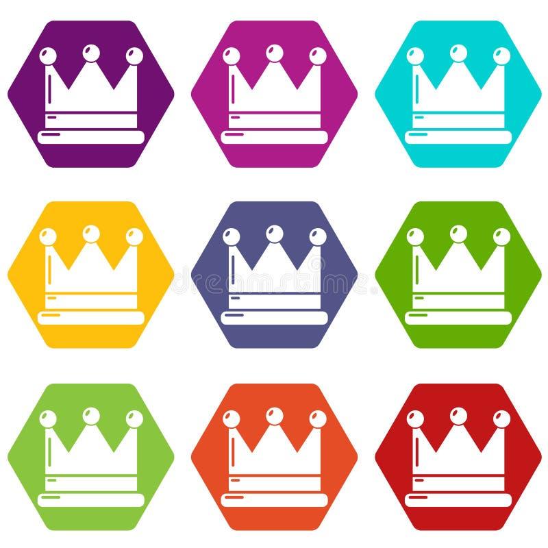 Koron ikony ustawiają 9 wektor ilustracja wektor