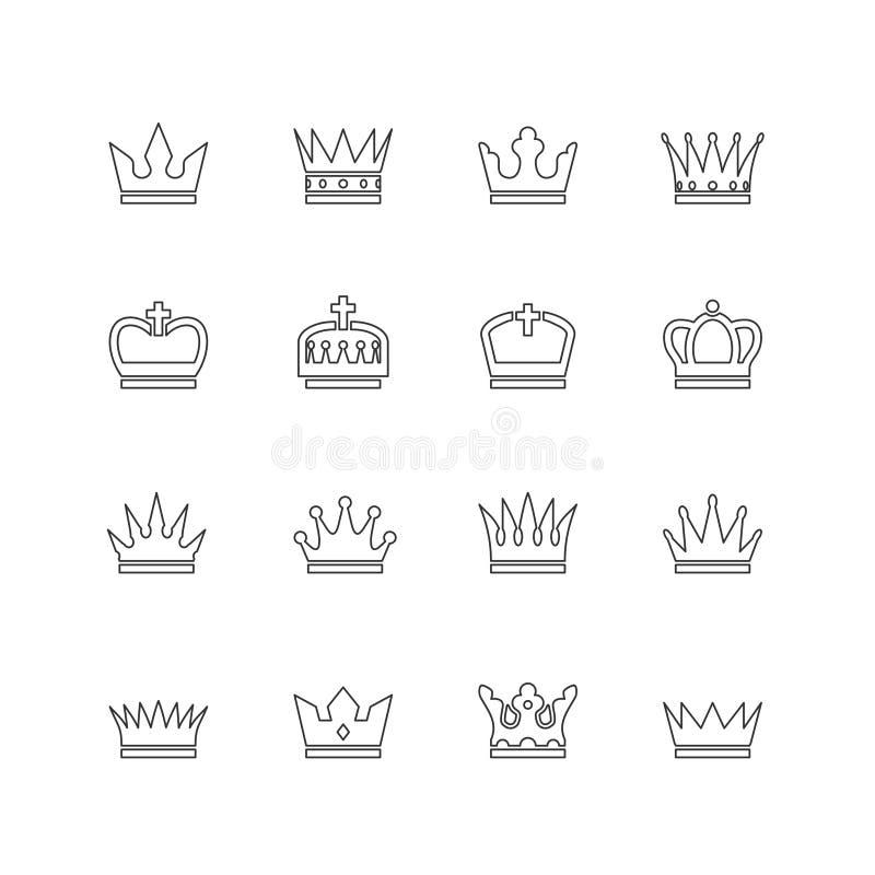 Koron kreskowe ikony royalty ilustracja