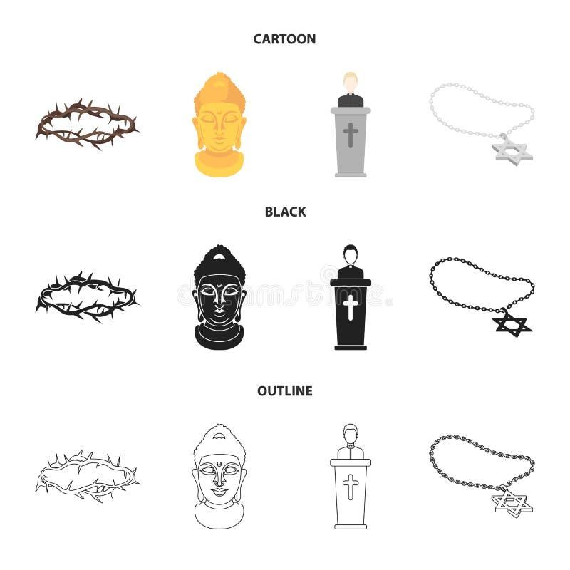 Korona ciernie, gwiazda dawidowa, ksiądz, Buddha głowa Religii ustalone inkasowe ikony w kreskówce, czerń, kontur royalty ilustracja