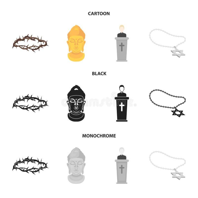 Korona ciernie, gwiazda dawidowa, ksiądz, Buddha głowa Religii ustalone inkasowe ikony w kreskówce, czerń, monochrom ilustracja wektor