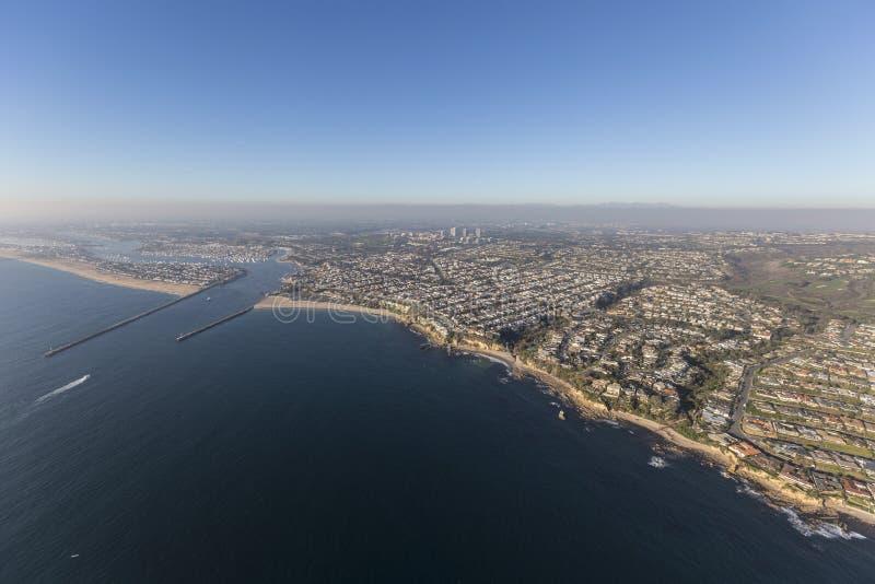 Korona słoneczna Del Mącący i newport beach antena obrazy stock