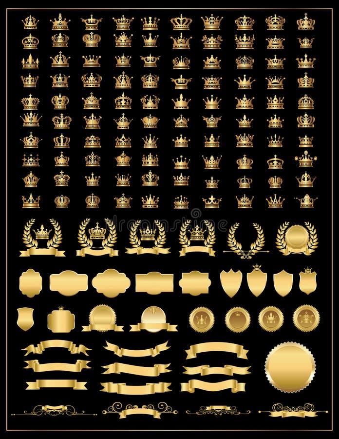 Korona, wektorowa kolekcja, złoto ilustracji