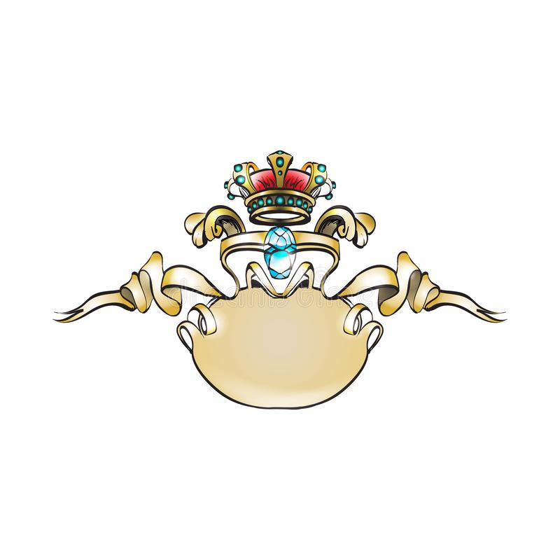 Korona wektorowi dekoracyjni elementy w roczniku projektują dla decoratio royalty ilustracja
