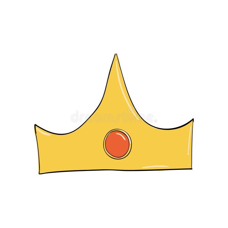 korona z czerwonym owalnym klejnotem Symbol władza Headpiece królewiątko Ikony oznaczania insygnia i sukces ilustracji