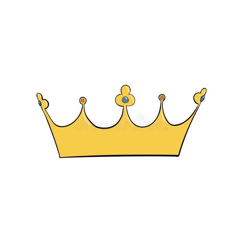 korona z klejnotami i diamentami Symbol władza Headpiece królewiątko Ikony oznaczania insygnia i sukces ilustracji
