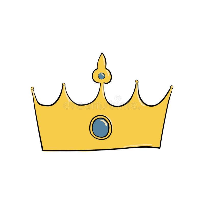 korona z klejnotem i diamentem Symbol władza Headpiece królewiątko Ikony oznaczania insygnia i sukces ilustracja wektor