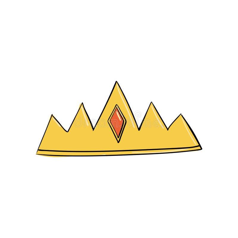 korona z rombowym rubinem Symbol władza Headpiece królewiątko Ikony oznaczania insygnia i sukces ilustracji