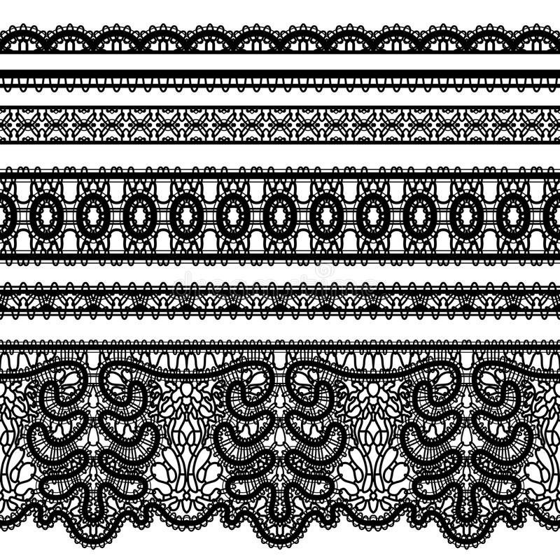 Koronek granicy na bielu ilustracja wektor