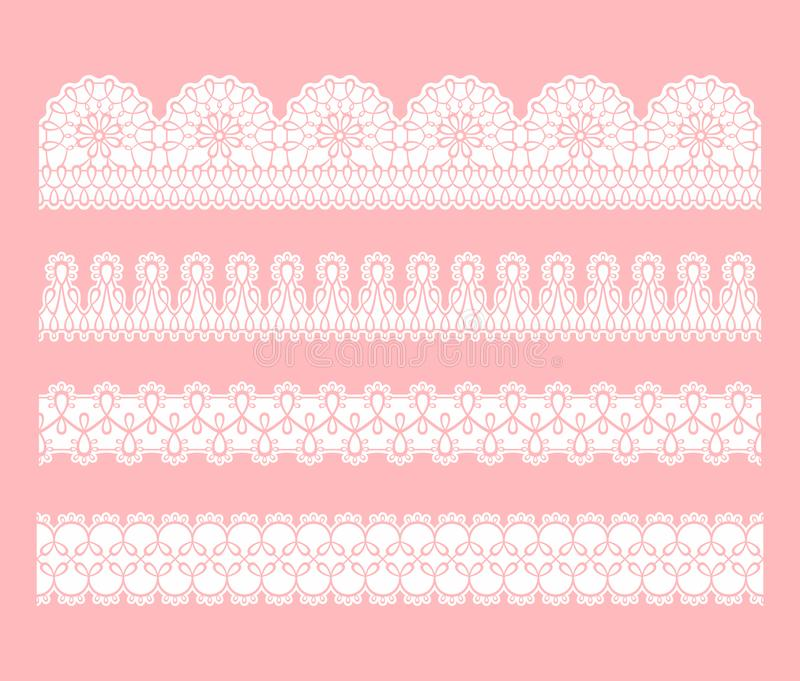 Koronkowa bezszwowa granica Set biel koronki maswerku faborki royalty ilustracja