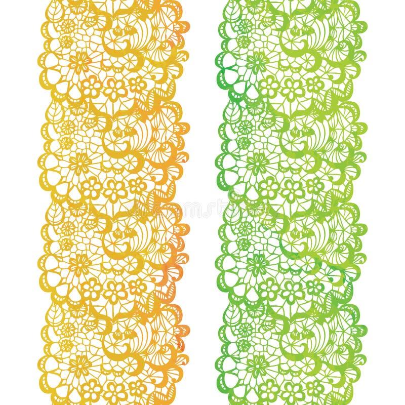 Koronkowa elegancka akwareli granica Koronkowy rocznika podstrzyżenie ilustracji