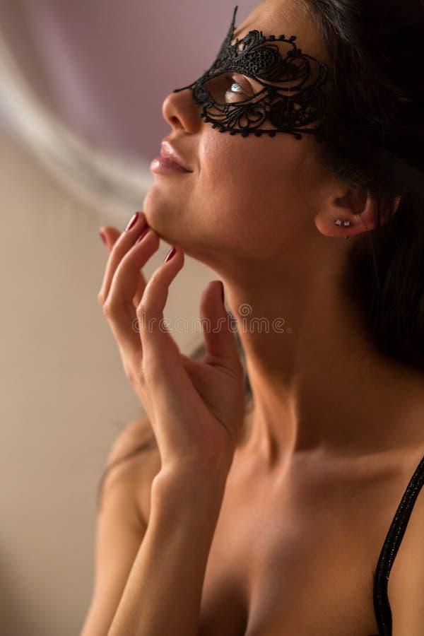 koronkowa maskowa kobieta obraz stock