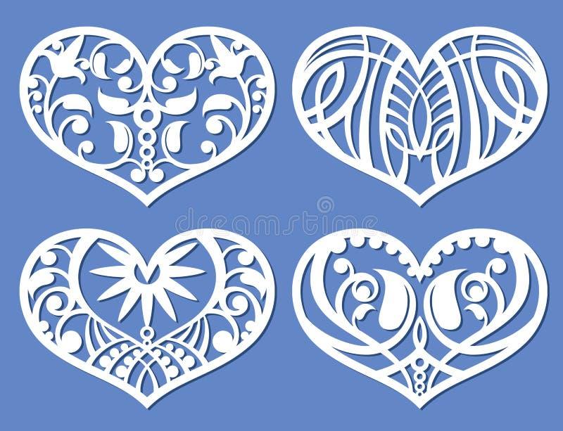 Koronkowi serca, laserowy tnący fretwork kształtują, spiskowiec wycinanki miłości wektoru symbole ilustracji