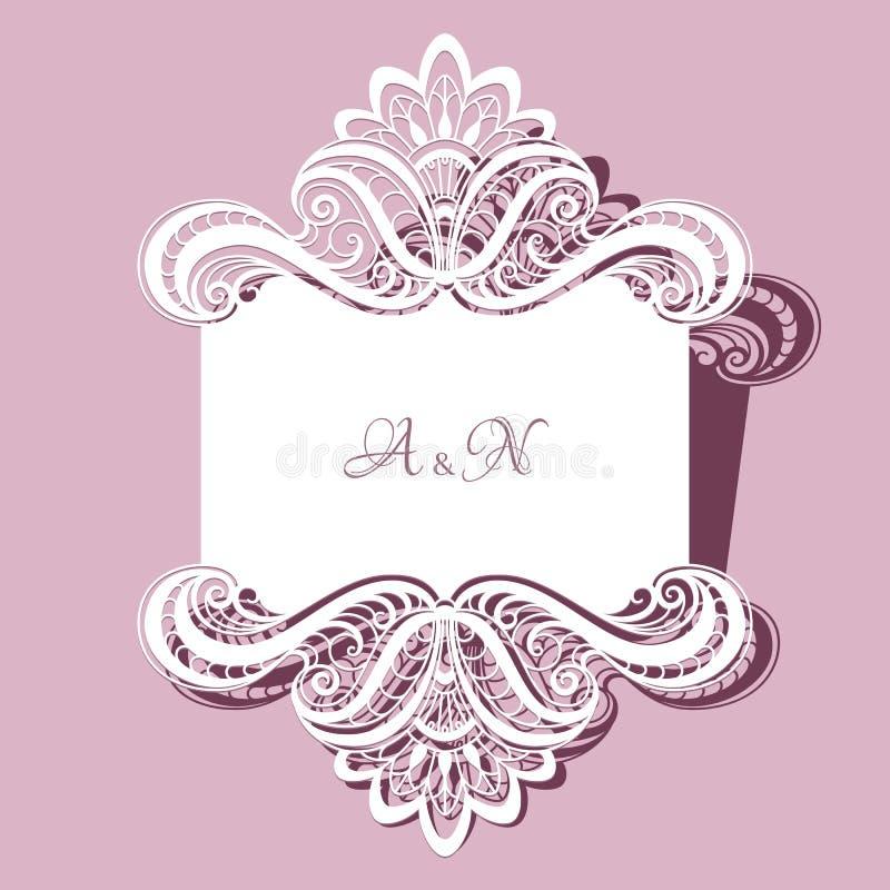 Koronkowy ślubnej karty lub zaproszenia szablon ilustracji