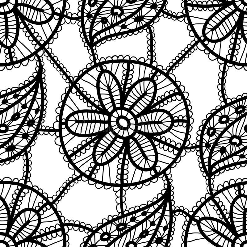 Koronkowy bezszwowy wzór z czerń liśćmi i kwiatami na białym tle royalty ilustracja