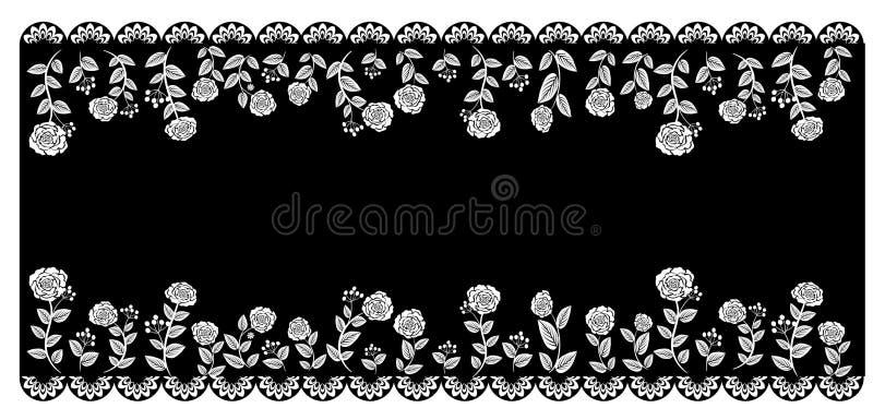Koronkowy czarny biel royalty ilustracja