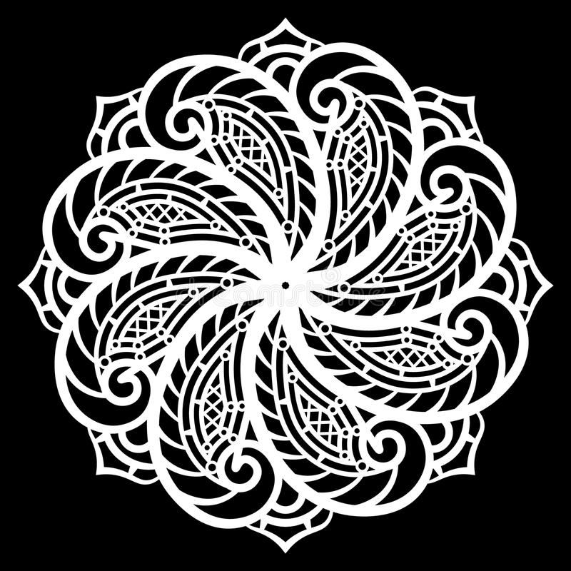 Koronkowy round papieru doily, koronkowy płatek śniegu, powitanie element, szablon dla tnącego spiskowa, round wzór, laseru rżnię ilustracji