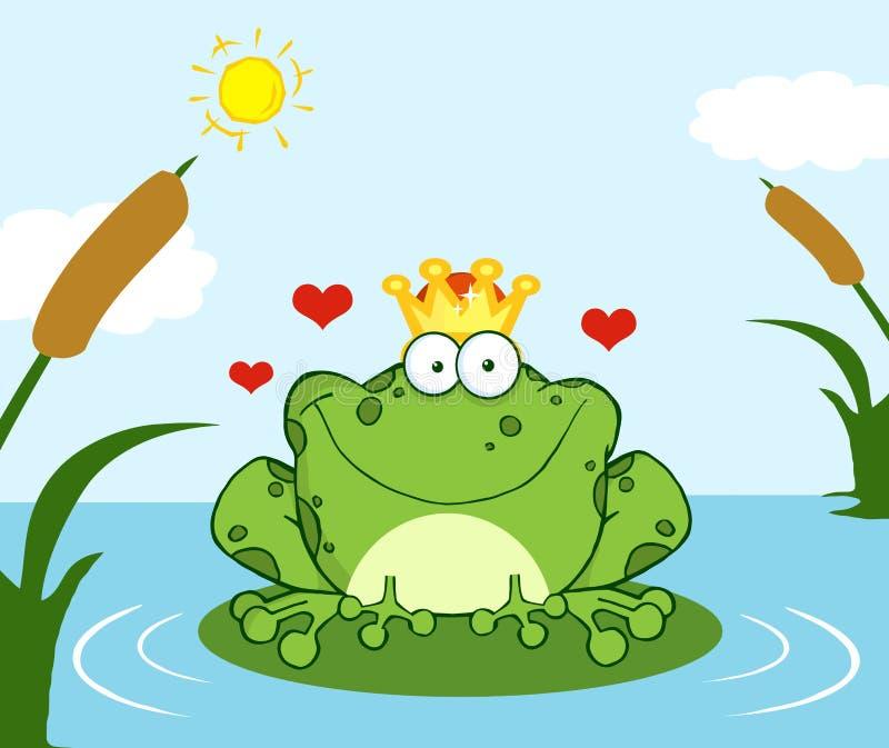 Koronowany żaby książe na liść w jeziorze ilustracji