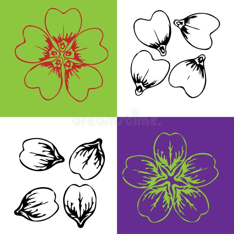 Koronowi kwiatów płatki pięknie lokalizują royalty ilustracja