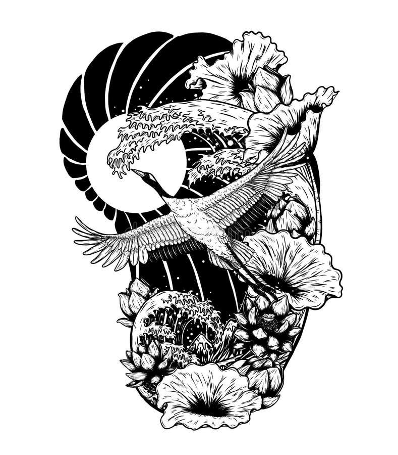 Koronujący żuraw z lotosowym wektorem rysuje ręcznie ilustracji