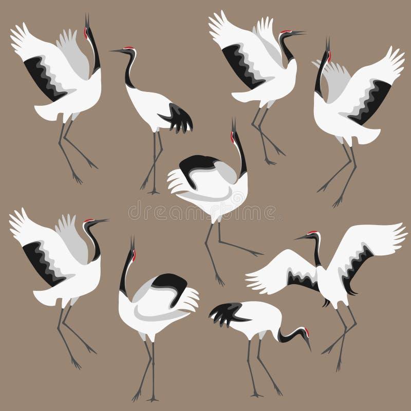 Koronujący żurawie Ustawiający ilustracja wektor