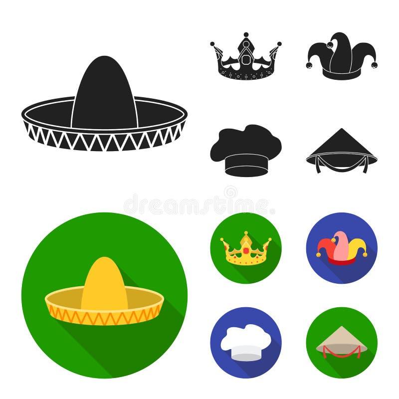 Koronuje, dowcipniś nakrętka, kucharz, rożek Kapelusz ustawiać inkasowe ikony w czarnym, mieszkanie symbolu zapasu ilustraci styl ilustracja wektor