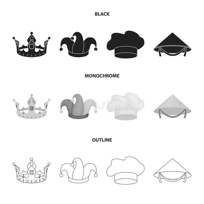 Koronuje, dowcipniś nakrętka, kucharz, rożek Kapelusz ustawiać inkasowe ikony w czarnym, monochromatyczny, konturu symbolu stylow royalty ilustracja