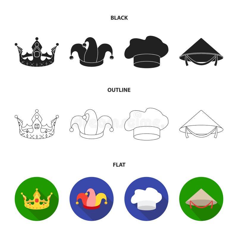 Koronuje, dowcipniś nakrętka, kucharz, rożek Kapelusz ustawiać inkasowe ikony w czarnym, płaski, konturu symbolu zapasu stylowa w royalty ilustracja