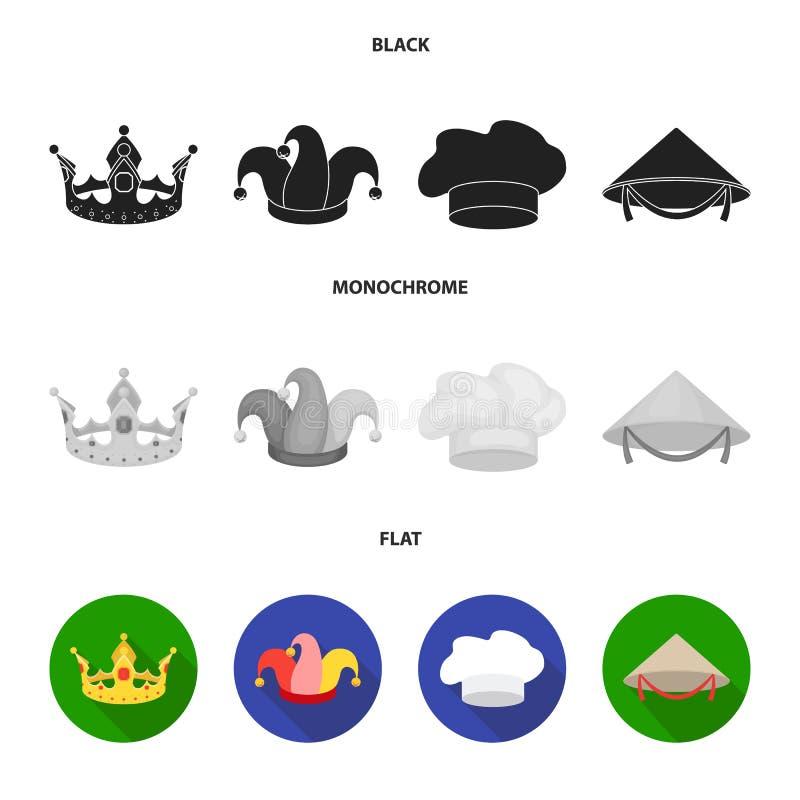 Koronuje, dowcipniś nakrętka, kucharz, rożek Kapelusz ustawiać inkasowe ikony w czarnym, płaski, monochromu symbolu stylowy wekto ilustracji