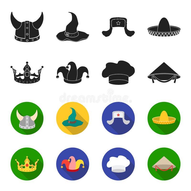 Koronuje, dowcipniś nakrętka, kucharz, rożek Kapelusz ustawiać inkasowe ikony w czerni, fleta symbolu zapasu ilustraci stylowa we royalty ilustracja