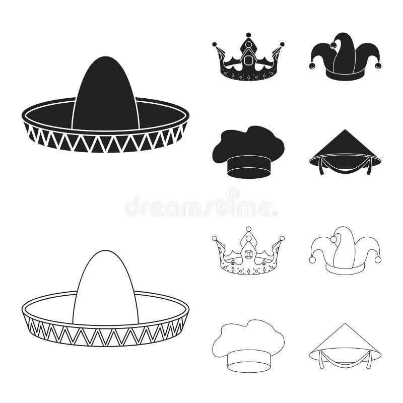 Koronuje, dowcipniś nakrętka, kucharz, rożek Kapelusz ustawiać inkasowe ikony w czerni, konturu symbolu zapasu ilustraci stylowa  royalty ilustracja