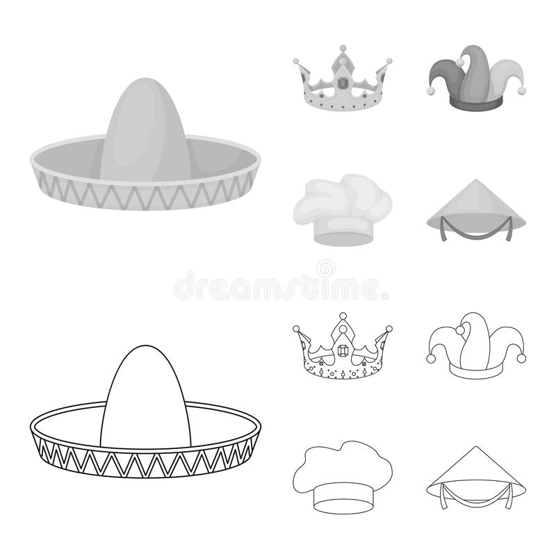 Koronuje, dowcipniś nakrętka, kucharz, rożek Kapelusz ustawiać inkasowe ikony w konturze, monochromu symbolu zapasu stylowa wekto ilustracja wektor
