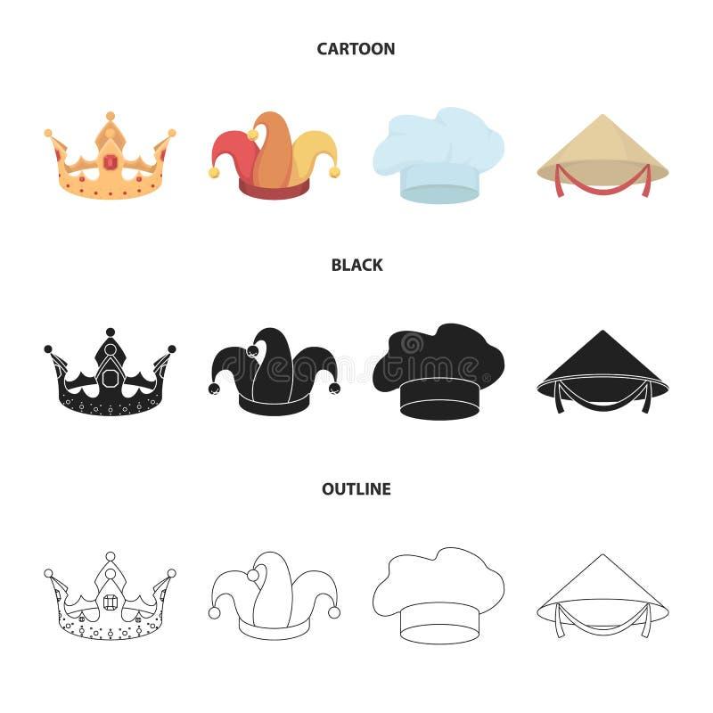 Koronuje, dowcipniś nakrętka, kucharz, rożek Kapelusz ustawiać inkasowe ikony w kreskówce, czerń, konturu symbolu zapasu stylowa  ilustracji