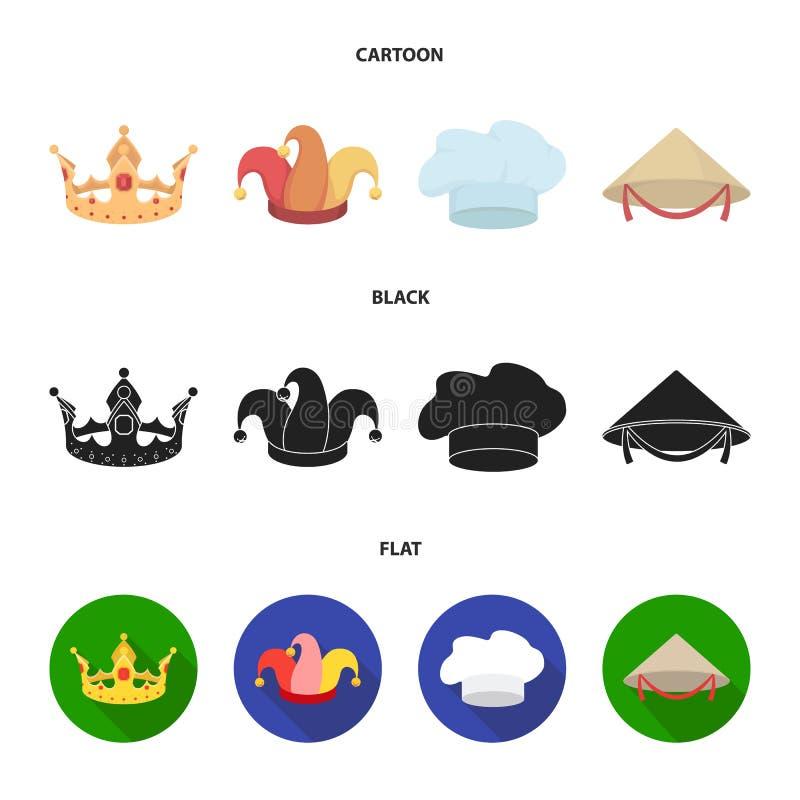 Koronuje, dowcipniś nakrętka, kucharz, rożek Kapelusz ustawiać inkasowe ikony w kreskówce, czerń, mieszkanie symbolu zapasu stylo royalty ilustracja
