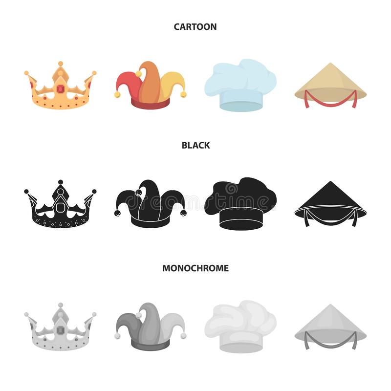 Koronuje, dowcipniś nakrętka, kucharz, rożek Kapelusz ustawiać inkasowe ikony w kreskówce, czerń, monochromu symbolu stylowy wekt royalty ilustracja