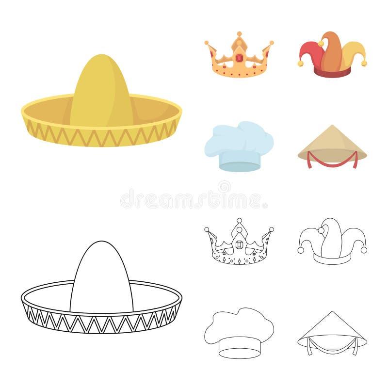 Koronuje, dowcipniś nakrętka, kucharz, rożek Kapelusz ustawiać inkasowe ikony w kreskówce, konturu symbolu zapasu ilustraci stylo ilustracji