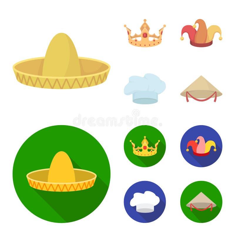 Koronuje, dowcipniś nakrętka, kucharz, rożek Kapelusz ustawiać inkasowe ikony w kreskówce, mieszkanie symbolu zapasu ilustraci st royalty ilustracja