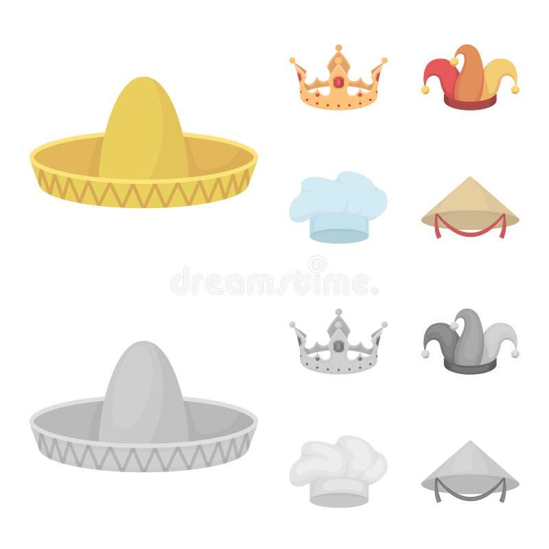 Koronuje, dowcipniś nakrętka, kucharz, rożek Kapelusz ustawiać inkasowe ikony w kreskówce, monochromu symbolu zapasu stylowa wekt royalty ilustracja