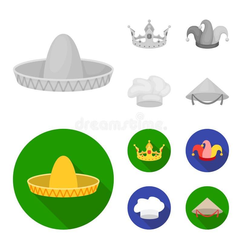 Koronuje, dowcipniś nakrętka, kucharz, rożek Kapelusz ustawiać inkasowe ikony w monochromu, mieszkanie symbolu zapasu ilustraci s ilustracja wektor