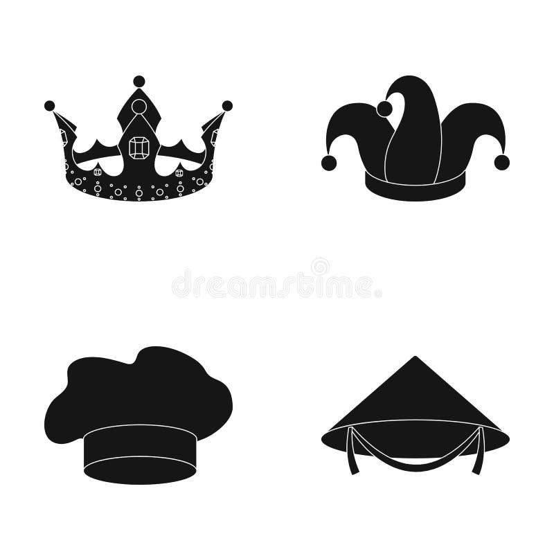 Koronuje, dowcipnisia ` s nakrętka, kucharz, rożek Kapelusz ustawiać inkasowe ikony w czerń stylu wektorowym symbolu zaopatrują i ilustracji