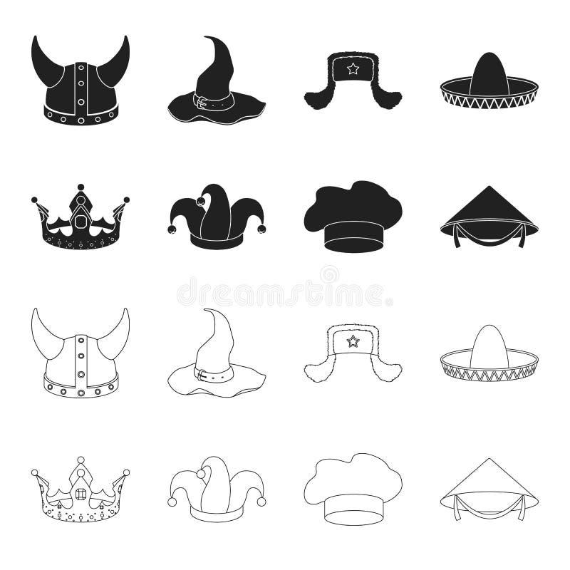 Koronuje, dowcipnisia ` s nakrętka, kucharz, rożek Kapelusz ustawiać inkasowe ikony w czerni, konturu symbolu zapasu ilustraci st ilustracja wektor