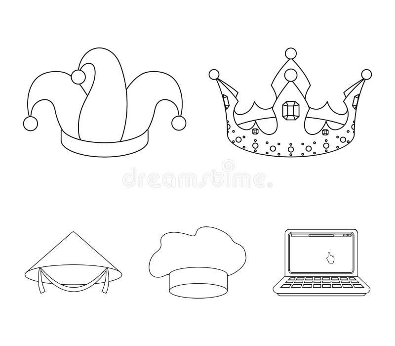 Koronuje, dowcipnisia ` s nakrętka, kucharz, rożek Kapelusz ustawiać inkasowe ikony w konturu stylu wektorowym symbolu zaopatrują ilustracja wektor
