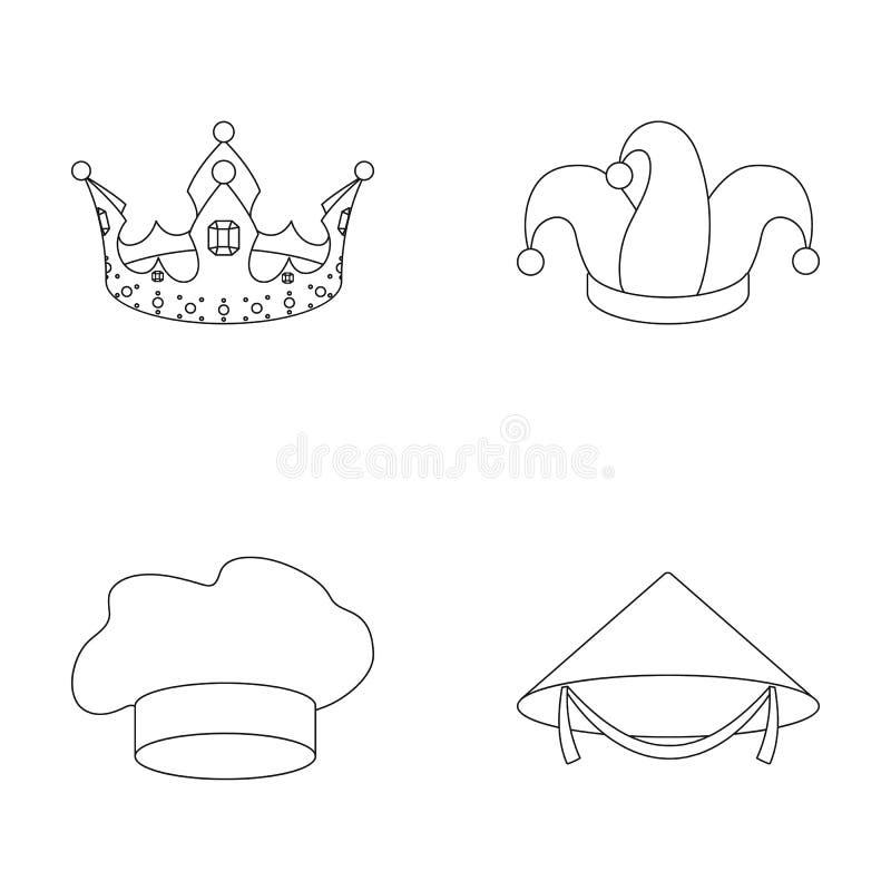 Koronuje, dowcipnisia ` s nakrętka, kucharz, rożek Kapelusz ustawiać inkasowe ikony w konturu stylu wektorowym symbolu zaopatrują ilustracji